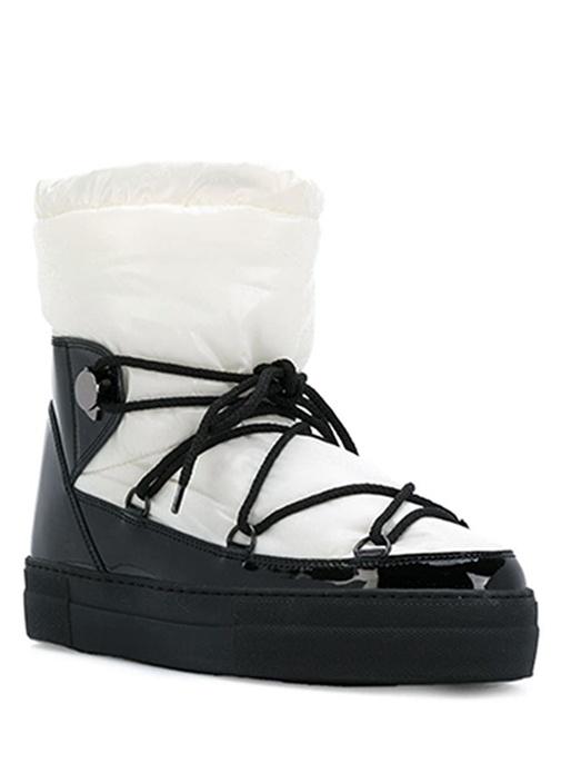 Ynnaf Beyaz Siyah Kadın Deri Kar Botu