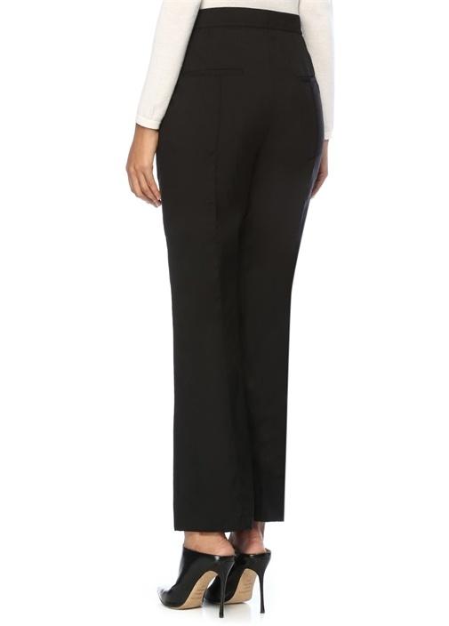 Siyah Yüksek Bel Bol Paça Yün Pantolon