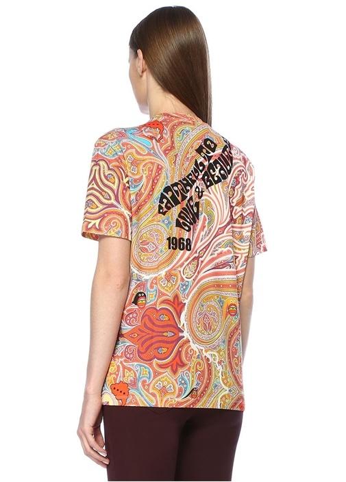 Şal Desenli Logo Baskılı T-shirt