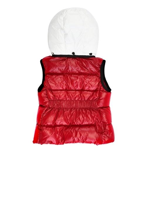 Menahere Kırmızı Beyaz Kız Çocuk Puff Yelek