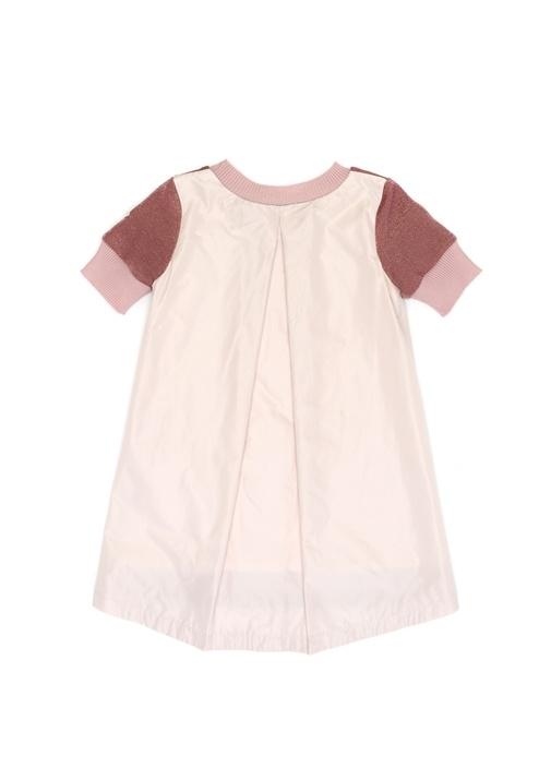 Pembe Sim Dokulu Garnili Kız Çocuk Elbise