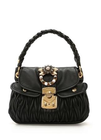 Miu Kadın Siyah Drapeli Deri Çanta Ürün Resmi