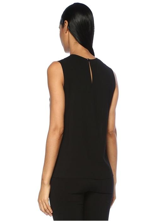 Siyah Transparan Yaka Taşlı Fırfırlı Bluz