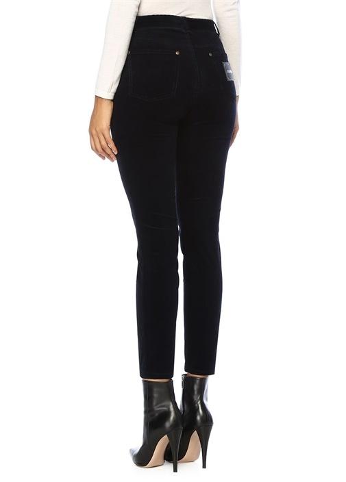 Lacivert Normal Bel Dar Paça Kadife Pantolon