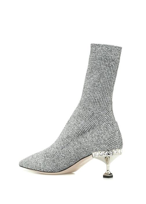 Silver Topuk Detaylı Çorap Formlu KadınBot