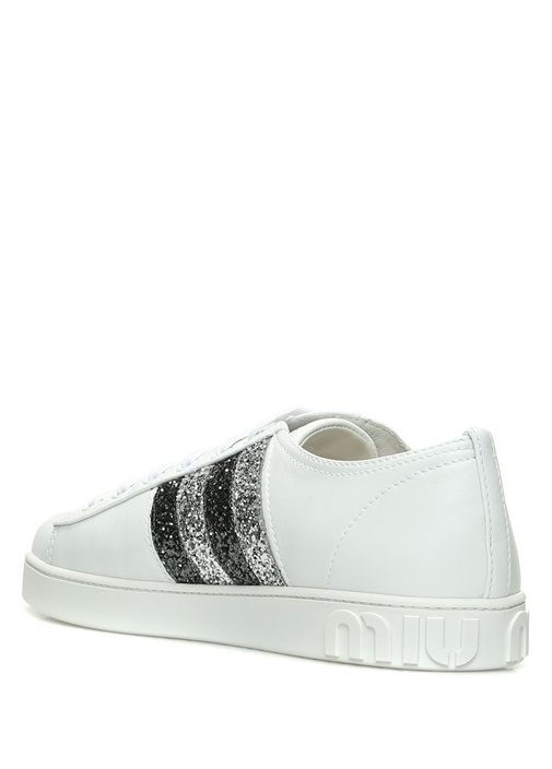 Beyaz Simli Taşlı Logolu Kadın Deri Sneaker