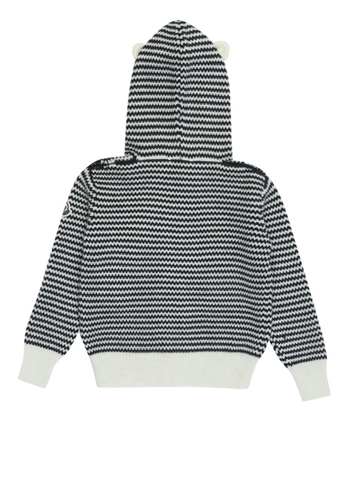 Siyah Beyaz Kapüşonlu Zikzaklı Unisex Bebek Hırka
