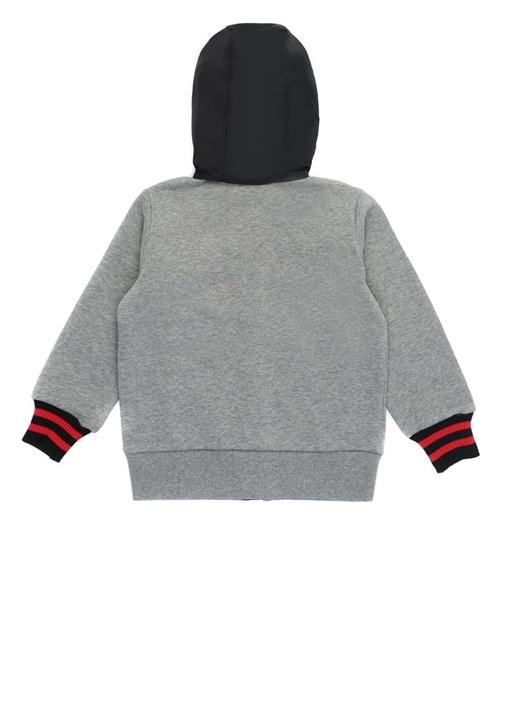 Gri Siyah Kapüşonlu Erkek Çocuk Sweatshirt