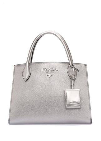 Prada Kadın Silver Logolu Deri Çanta Gri Ürün Resmi