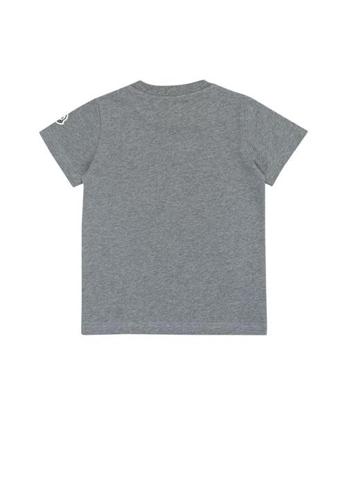 Gri Bisiklet Yaka Logo Baskılı Erkek Çocuk T-shirt