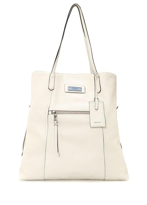 Beyaz Logolu Kadın Deri Çanta