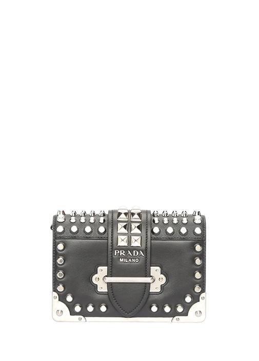 Siyah Silver Troklu Logolu Kadın Deri Çanta