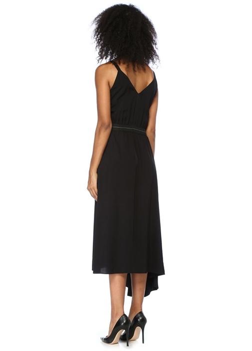 Siyah V Yaka Asimetrik Midi Elbise