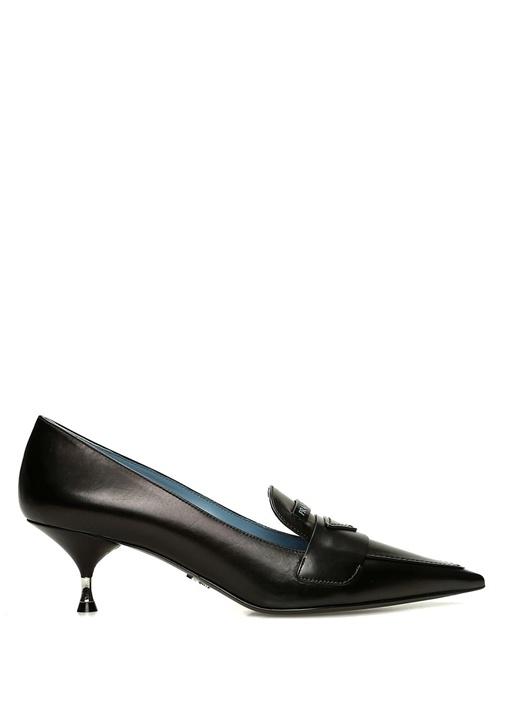 Siyah Bant Detaylı Deri Topuklu Ayakkabı