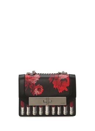 3342394a447b7 Standart female Kırmızı Prada Kadın Severine Siyah Çiçekli Deri Çanta EU