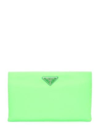 Prada Kadın Neon Yeşil Medium Logolu El Portföyü EU