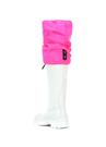 Beyaz Neon Pembe Kadın Deri Çizme