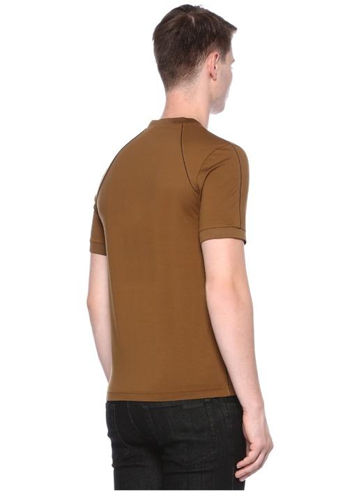 Taba Bisiklet Yaka Dikiş Detaylı Basic T-shirt