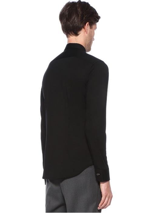 Slim Fit Siyah Düğme Kapatmalı Yün Gömlek