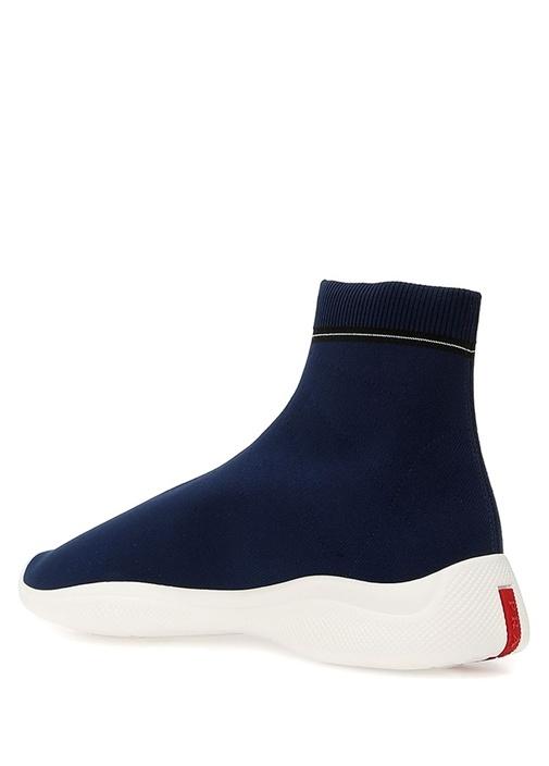 Lacivert Çorap Formlu Şeritli Erkek Sneaker