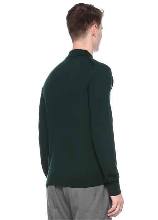 Yeşil Polo Yaka Gizli Düğmeli Yün Triko