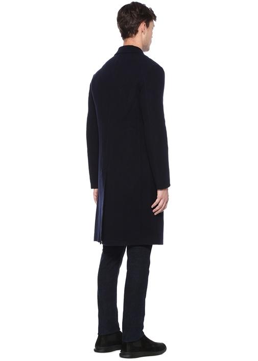 Lacivert Kelebek Yaka Yırtmaçlı Midi Yün Palto