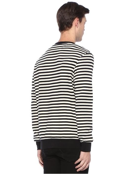 Siyah Beyaz Çizgili Nakışlı Sweatshirt