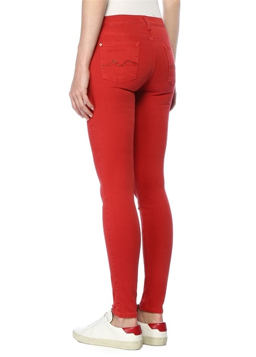 Super Kırmızı Siyah Jean Pantolon