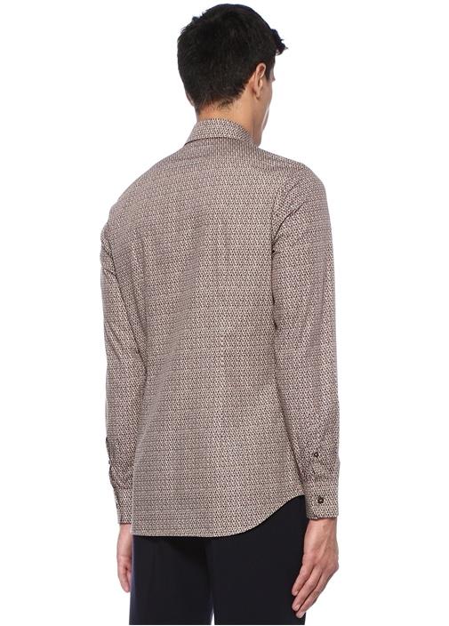 Kahverengi İngiliz Yaka Mikro Desenli Gömlek