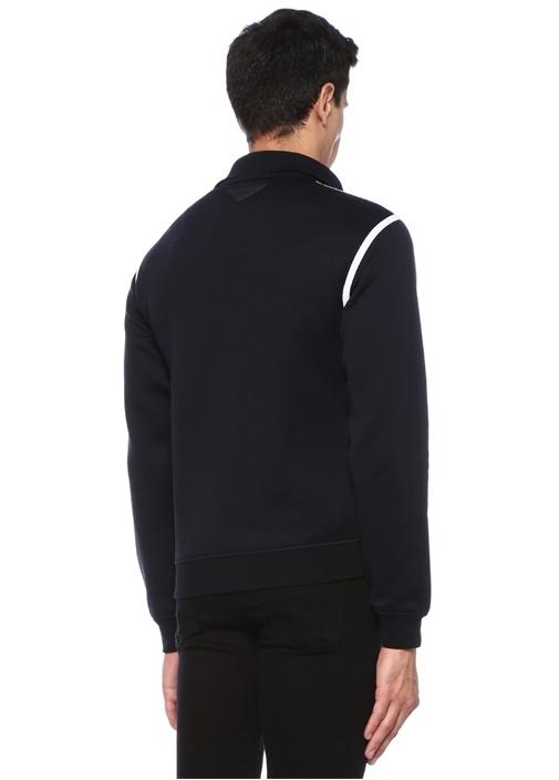Lacivert Logo Patchli Şerit Detaylı Sweatshirt