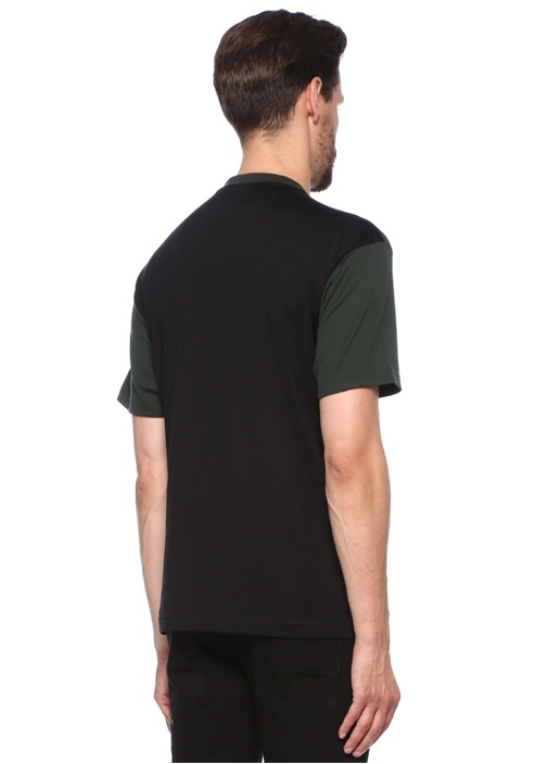 Yeşil Siyah Bisiklet Yaka Baskılı BasicT-shirt