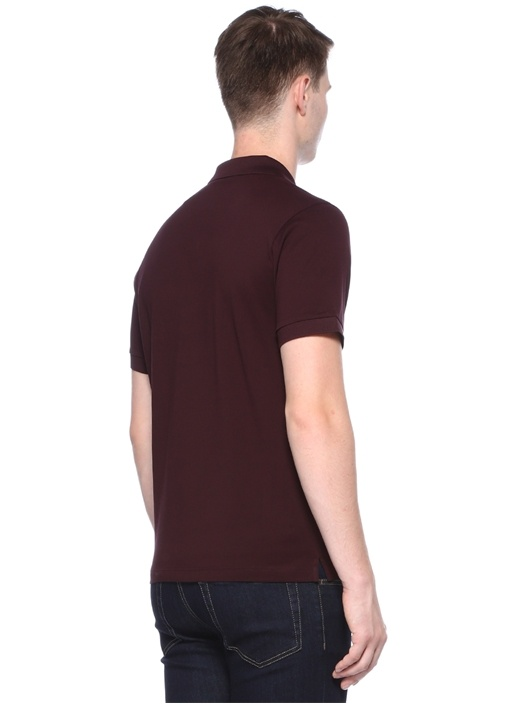 Bordo Polo Yaka Pike Dokulu T-shirt