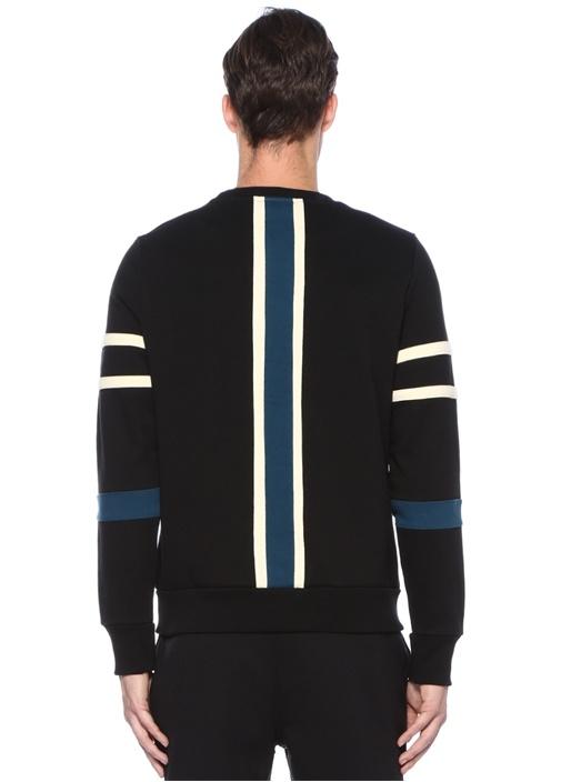 Siyah Ekru Bisiklet Yaka Şerit Detaylı Sweatshirt