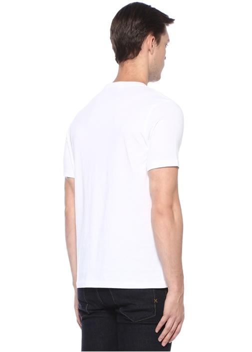 Beyaz Bisiklet Yaka Kurukafa Baskılı T-shirt