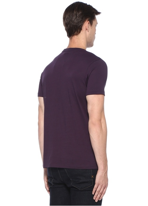 Mor Baskılı Basic T-shirt