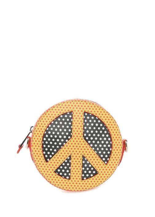 Sarı Kırmızı Puantiyeli Barış Sembollu Kadın Çanta