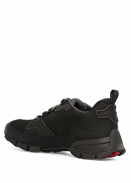 Siyah Bağcıklı Logolu Erkek Sneaker