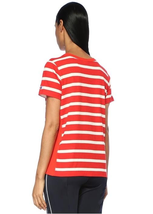 Kırmızı Beyaz Bisiklet Yaka Çizgili Basic T-shirt