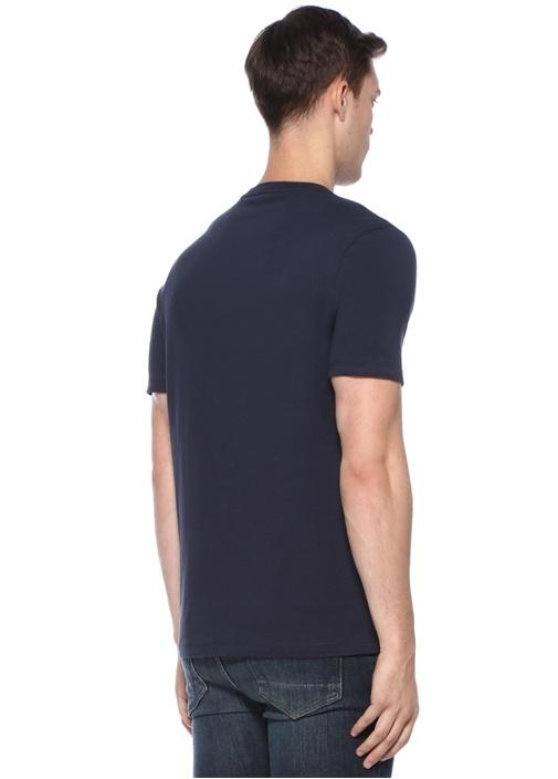 Lacivert Bisiklet Yaka Baskılı Basic T-shirt