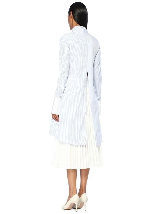 Frida Mavi Asimetrik Çizgili Yırtmaçlı Uzun Bluz