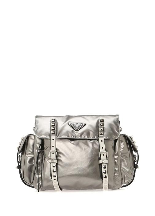 Metalik Silver Troklu Logolu Kadın Çanta