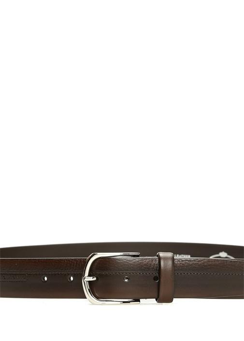 Kahverengi Delikli Şerit Detaylı Erkek Deri Kemer