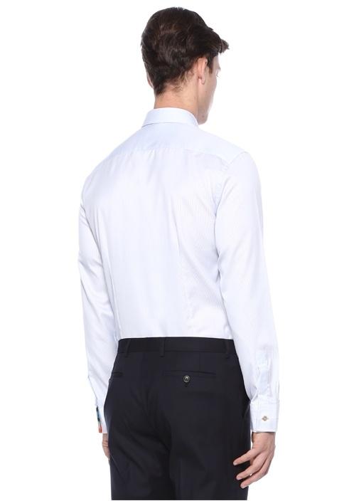 Soho Fit Beyaz Mavi Çizgi Desenli Gömlek