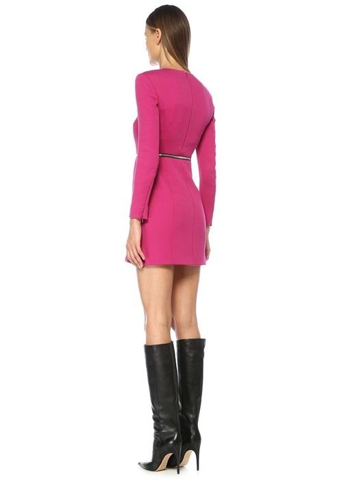 Fuşya Fermuar Detaylı Uzun Kol Mini Elbise