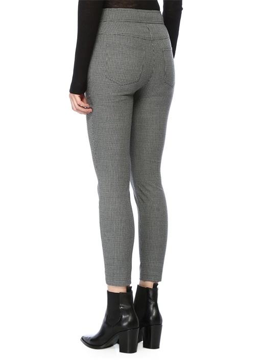 Gri Yüksek Bel Kazayağı Desenli Dar Paça Pantolon