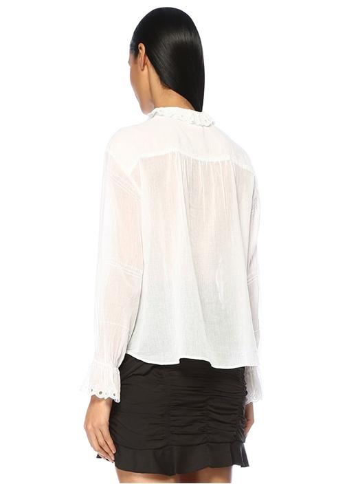 Louna Beyaz Dik Yaka Fırfırlı Nakışlı Bluz