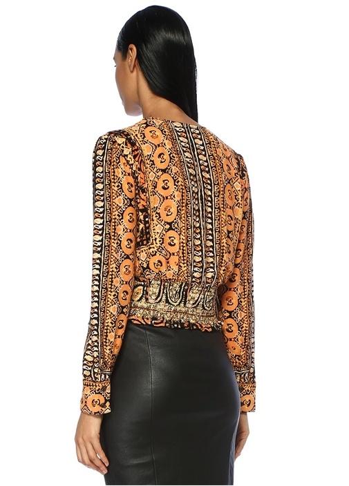 Turuncu Siyah Şal Desenli V Yaka Bluz
