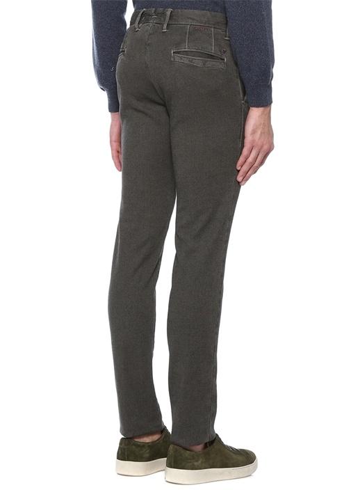 Yeşil Normal Bel Çizgi Dokulu Dar Paça Pantolon