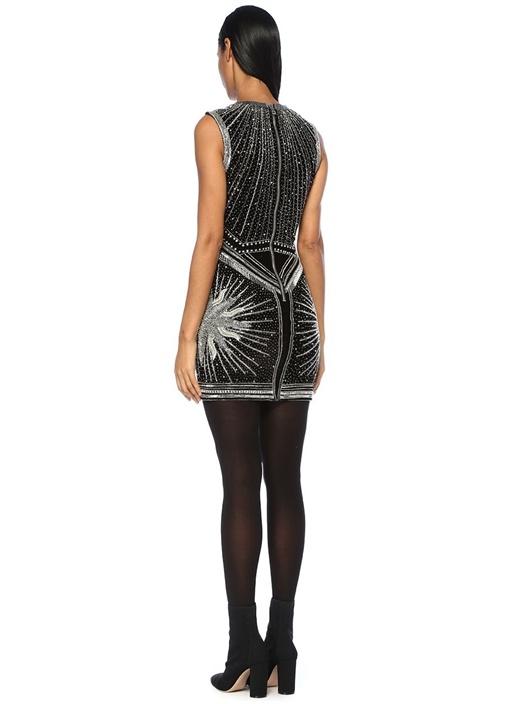 Siyah Silver İşlemeli Mini Kokteyl Elbisesi