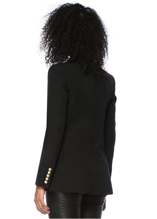 Siyah Şal Yaka Kruvaze Yün Ceket